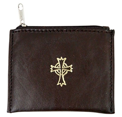 Zippered Rosary Case - Genuine Leather Lined Rosary Case with Celtic Cross Crucifix, Brown, 3 3/4 Inch