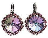 Mariana Silvertone Rivoli Cushion Statement Crystal Earrings, Light Vitrail Prism 1137/1R 2231VL