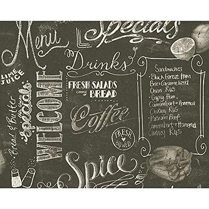 Como Creation diseño de papel pintado Negro Pizarra patrón ...