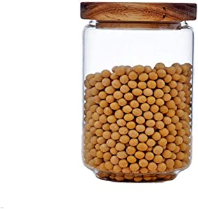 Keledz Glass Storage Jar with Wood Lids, Airtight Sealed Clear Borosilicate Glass Canister Kitchen Food Storage Containers for Coffee Beans Loose Tea Nuts Sugar Candy Spice, 450ml 16 oz (750ml 26 oz)