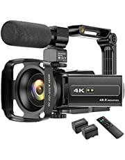 4K camcorder videocamera WIFI 48MP IR nachtzicht vlogging camera, 16 x digitale zoom video-recorder met microfoon, camerahouder en lenskap