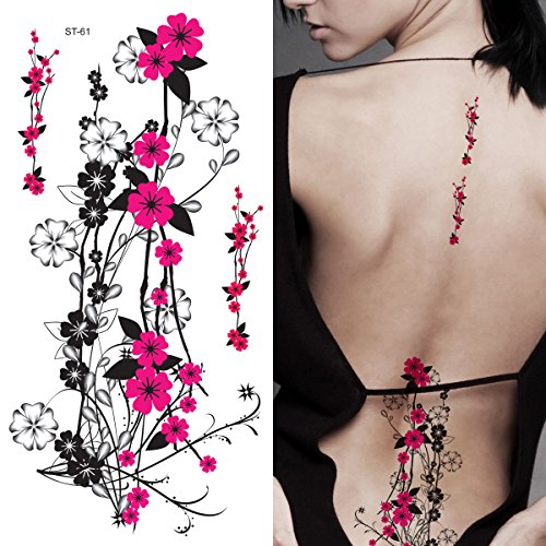 Supperb Flower & Autumn Leaves Temporary Tattoos Gorgeous Color Tattoos (Hot Pink Plum Flowers)