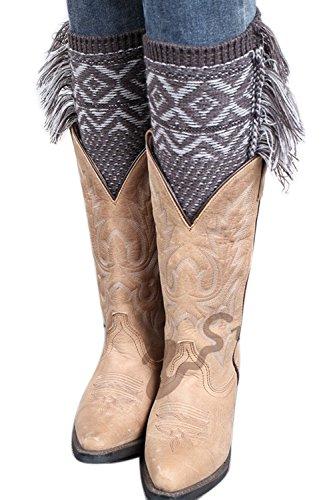 Borlas Puños A Crochet Leg Mujer Warmers La Invierno Navidad Bohemia Acolchados De Rodilla De De 3 Tejida Bota IUgnpq