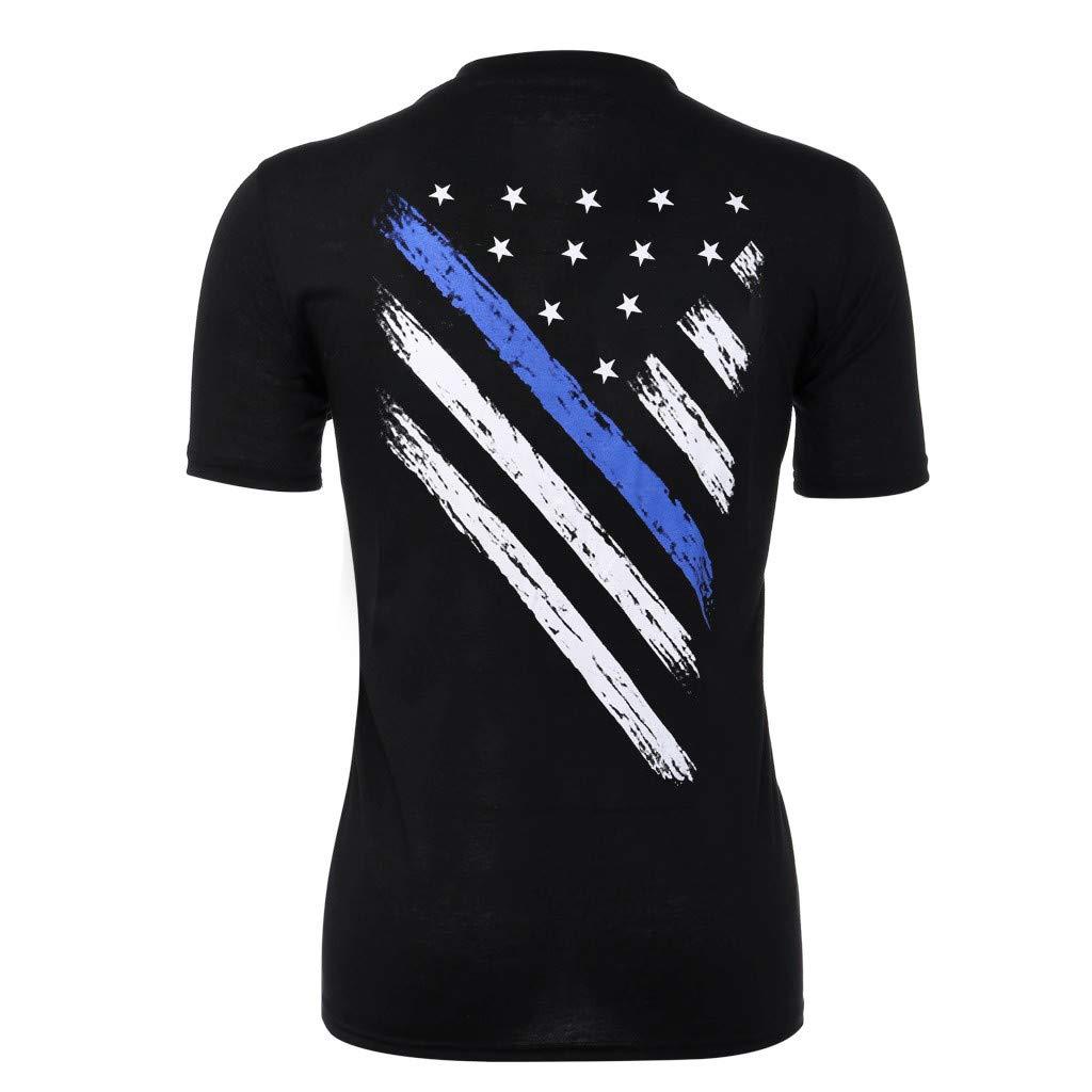 STORTO Mens Regular-fit Quick-Dry Tee Shirt Print American Flag Pattern Short Sleeve Tops