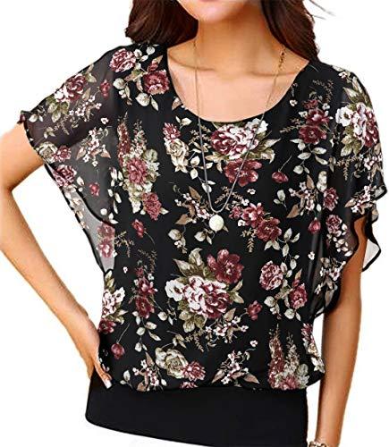 Neineiwu Women's Loose Casual Short Sleeve Chiffon Top T-Shirt Blouse (XL, Jasmine-Black)