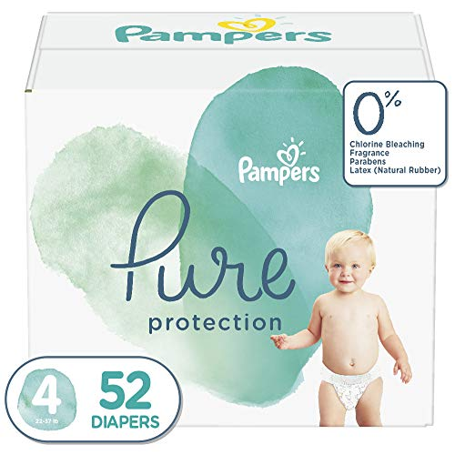 Diapers Size 4 (52 Count) - Pampers Pure Disposable Baby Diapers, Hypoallergenic and Unscented...