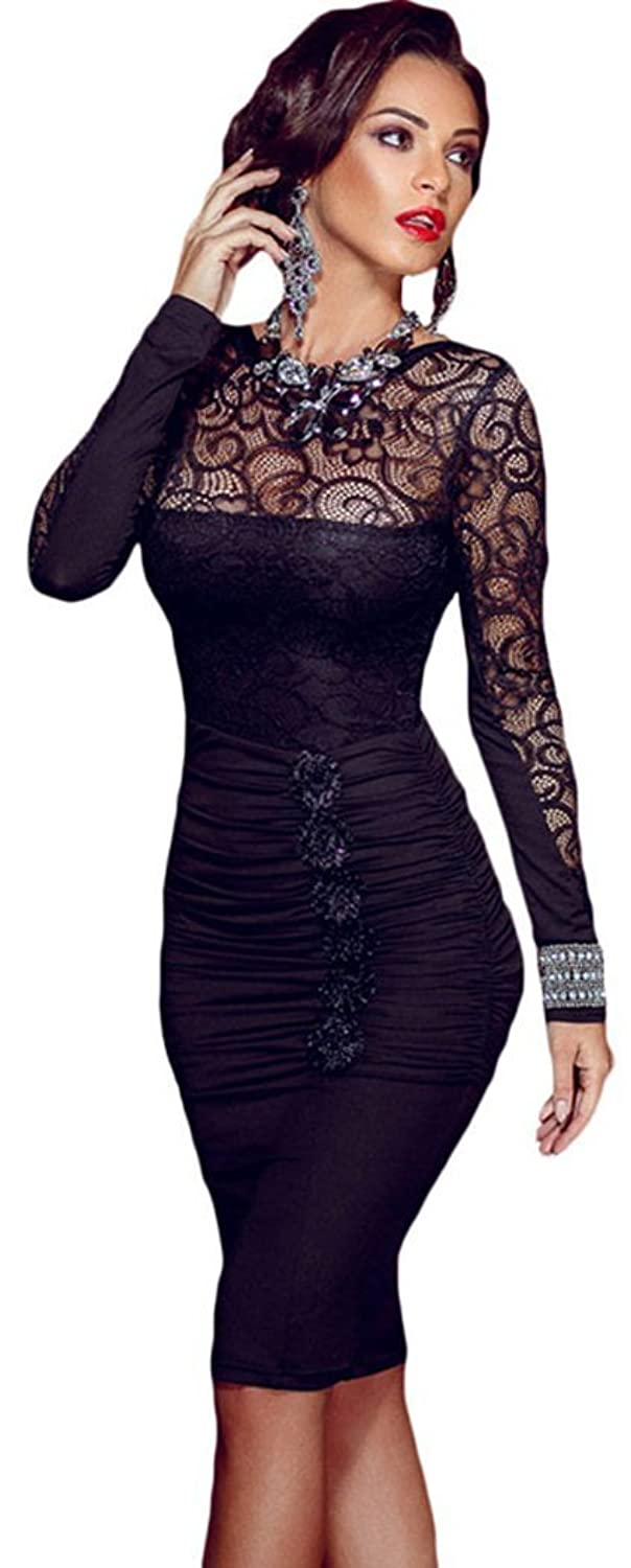 Christmas PEGGYNCO Womens Floral Applique Lace Ruched Bodycon Midi Dress One Size