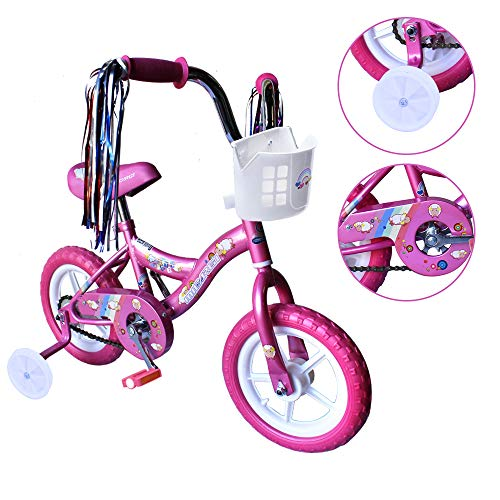 ChromeWheels 12 inch Bike for 2-4 Years Old Kids, EVA Tires and Training Wheels,Great for Beginner, Pink