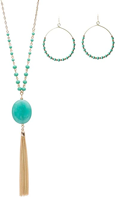 New Women/'s Resin Pearl Beaded Tassel Necklace Long Sweater Chain Jewelry Gifts