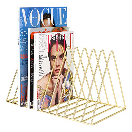MORIGEM File Organizer, Bookshelf Magazine Rack, Triangle Iron Book Rack, 11 Slots Book Stand, Book Display for Office Home School (Gold) (File Bookshelf)