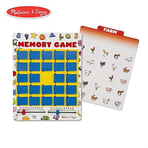 Melissa & Doug Flip-to-Win Memory Game (Travel Games, Bungee-Hinge Design, Colorful Illustrations, 7 Double-Sided Cards, 11.7