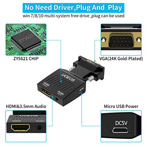 VGA to HDMI, uoeos VGA to HDMI Adapter (Male to Female) with Audio Support and 1080P Resolution for Computer, Desktop, Laptop, PC, Monitor, Projector, HDTV etc