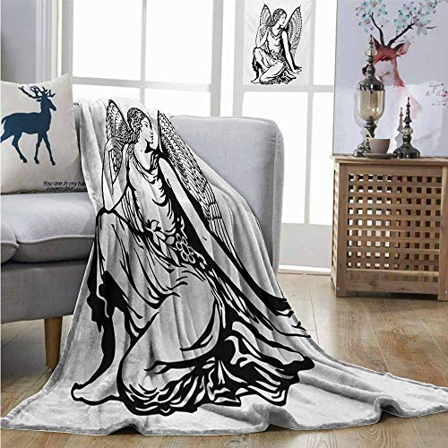 Homrkey Cozy Blanket Zodiac Virgo Young Woman Artistic Figure with Angel Wings Monochrome Tattoo Art Design Summer Blanket W70 xL84 Black and White -