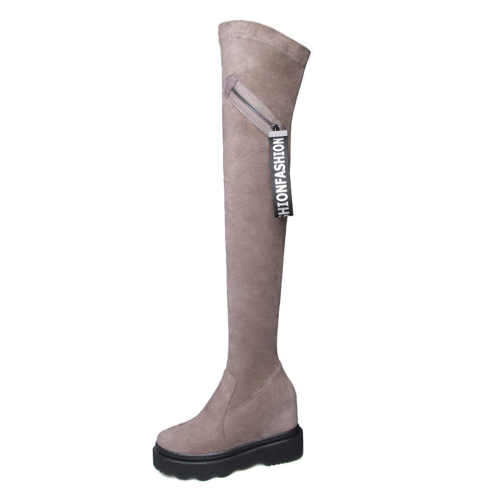 Apricot Ladies Women Biker Boots Over The Knee HIGH Platform Wedge Heel Stretch Thigh HIGH Boots Stretch Casual Riding Boots Size Invisible Height 9cm