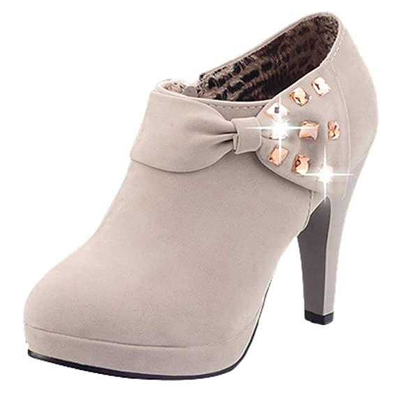Mujer Botines Tacones Altos Moda Zapatos Cremallera de Botas ZARLLE Mujer Botines Otoño Invierno Botas del Bowknot Zapatos De Las Bombas Tacón Desnudo ...