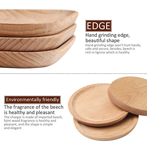 Household Natural Wooden Plate Innovative Beech Coaster Serving Platter Tray Small Plate Wood Baking Tools for Kitchen Dining Room Living Room Cafe Shop Round by jannyshop (Image #3)