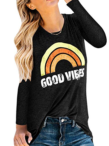 - Womens Long Sleeve T Shirts Funny Good Vibes Saying Graphic Tees Tunic Top
