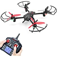 Metakoo D1 RC Toy Drone with 720P HD Camera, Big Outdoor/Indoor Helicopter with Updated Battery Capacity, Quadcopter with Altitude Hold, 3D Flips, Headless Mode and One-key Return (Black)