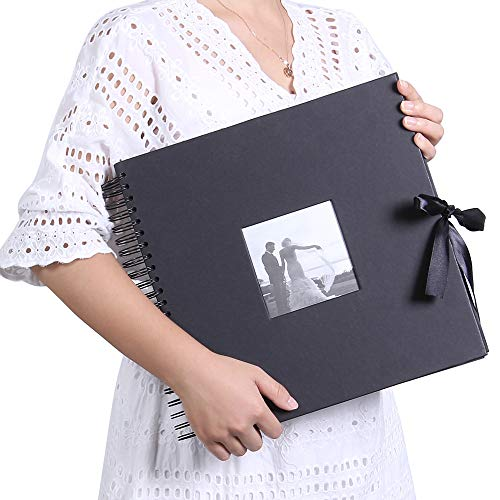 (12x12 Inch DIY Scrapbook Photo Album with Cover Photo Pocket 80 Pages Silk Ribbon Album Craft Paper Album for Guest Book, Anniversary, Valentines Day Gifts(Black) )