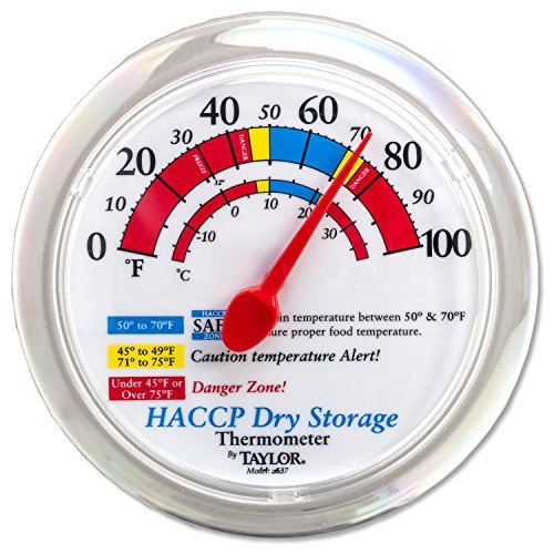 Taylor Precision Products 5637 Prep and Dry Storage Wall Thermometer with Mounting Bracket, 6