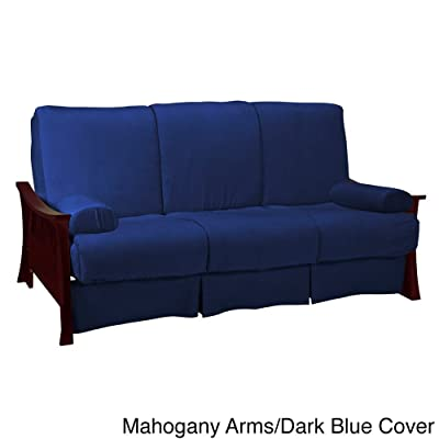 Epic Furnishings Beijing Perfect Sit & Sleep Full or Queen-size Pillow Top Sleeper Sofa Mahogany Arms/Dark Blue Cover Full