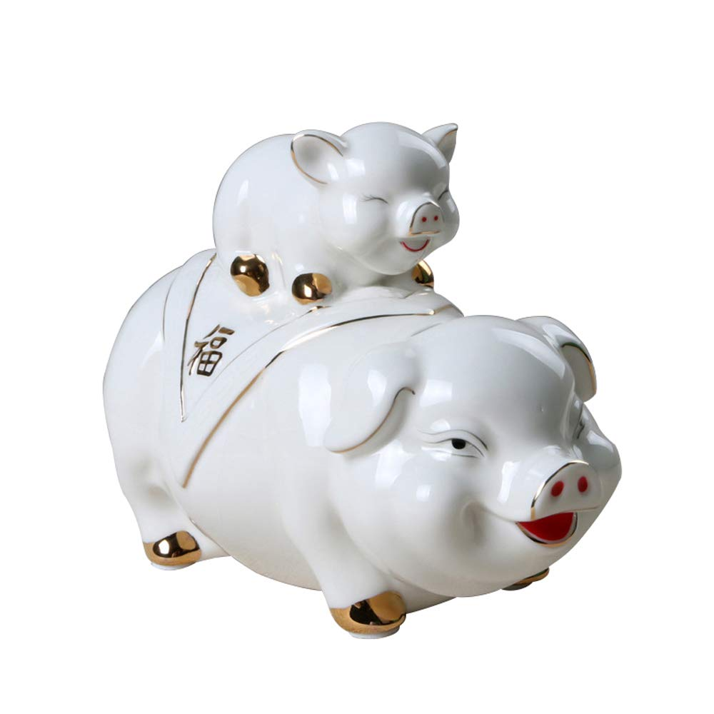 ADbank Ceramic Piggy Bank Coin Storage, Money Box Pig Gifts for Children Friends, Money Pot Also Ornaments for Room Decorations by ADbank