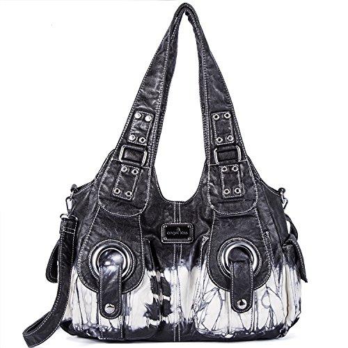 Handbag Hobo Women Bag Roomy Multiple Pockets Street ladies' Shoulder Bag Fashion PU Tote Satchel Bag for Women (XS160191Z black)