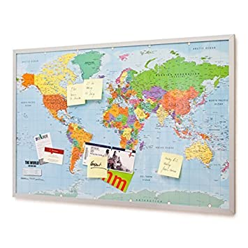 Pin board bulletin board xxl 90x60cm 2 sided world map and cork pin board bulletin board xxl 90x60cm 2 sided world map and cork memo board gumiabroncs Images