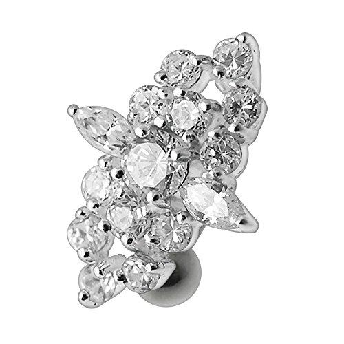 Silver Belly Rings Clear CZ Crystal Gemstone Stylish Tribal Multi Gems Reverse Bar 925 Sterling Body jewelry