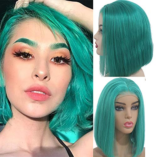 Myfashionhair Affordable Wigs Silky Straight Good Quality Wigs 8 inch 180% Density Affordable Lace Front Wigs with 13x4 Swiss Lace and Adjustable Cap, Pre Plucked Human Hair Wigs (Lake -