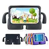 Lioeo Samsung Galaxy Tab 3 / 3 Lite 7.0 Case for Kids Rubber Shock Proof Protective Case Cover with Carry Handle for Samsung Galaxy Tab 3 /3 Lite Tablet 7 inch Screen (Black)