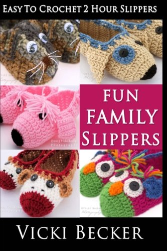 Fun Family Slippers (Easy To Crochet 2 Hour Slippers) (Crochet Slipper Sock Pattern)