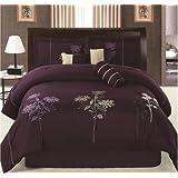 """Luxurious Queen (90x94"""") Dark Purple Embroidery Comforter Set Bedding in a Bag. Purple - Queen"""
