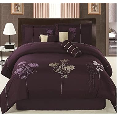 FineHome Luxurious Queen (90x94) Dark Purple Embroidery Comforter Set Bedding in a Bag. Purple - Queen