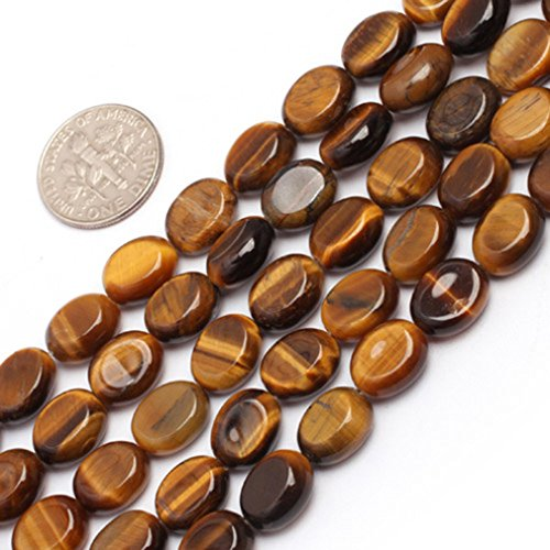 8x10mm Oval Gemstone Yellow Tiger Eye Beads Strand 15 Inch Jewelry Making ()