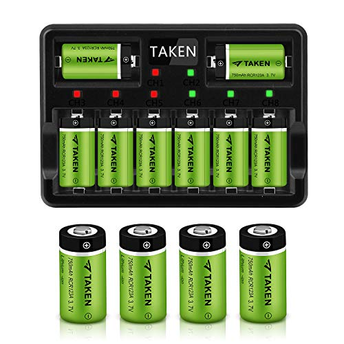 Taken CR123A Rechargeable Batteries, 3.7V 750mA Li-ion Rechargeable Batteries for Arlo Camera (VMC3030/VMK3200/VMS3330/3430/3530), 12 Pack CR123A Batteries with 8-Ports Charger (12 Pack with Charger) (Taken By The Best)