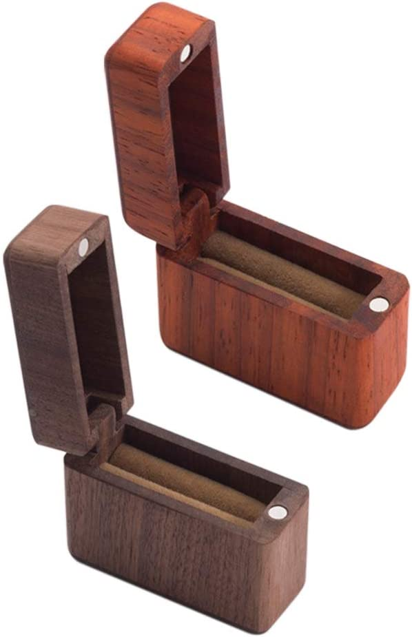 Angmile Retro Wooden Ring Box Simple Rectangle Shape Ring Holder Box Proposal Wedding Marriage Engagement Ring Box