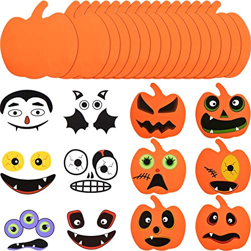 Outus 16 Pieces Halloween Foam Pumpkin Craft Kit and 16 Pieces Pumpkin Stickers Craft Stickers for Halloween Kids Craft Party Decorations