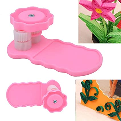Akozon Steel Curling Pen DIY Quilling Tool Pink Electric Slotted Paper Crafts Origami Winder