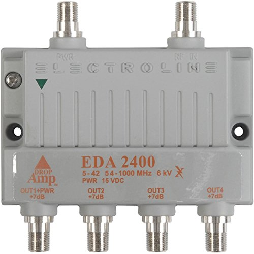 - Electroline EDA-2400 4-Port Cable TV HDTV Signal Booster/Amplifier (Retail Package with 5-Year Warranty)