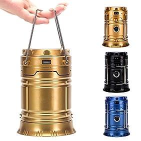 WOBAOS Camping Lantern-Solar Flashlights -LED Camp lantern-Portable Outdoor Water Resistant Ultra Bright Rechargeable Lanterns(Golden,Black,Blue)