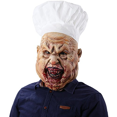 Jiu Ya Da Dui Halloween Horror Bloody Butcher Mask Scary Crazy Chef Cosplay Props]()