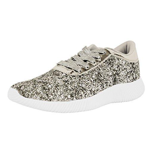 Guilty Schuhe Damenmode Glitter Metallic Schnürschuh Sparkle Slip On - Wedge Platform Sneaker Silverv2 Glitter