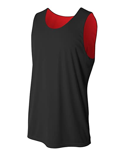 d94373d0d41 Black Red Adult 2X (Blank) Reversible Sleeveless Wicking Tank Sports Jersey  Top