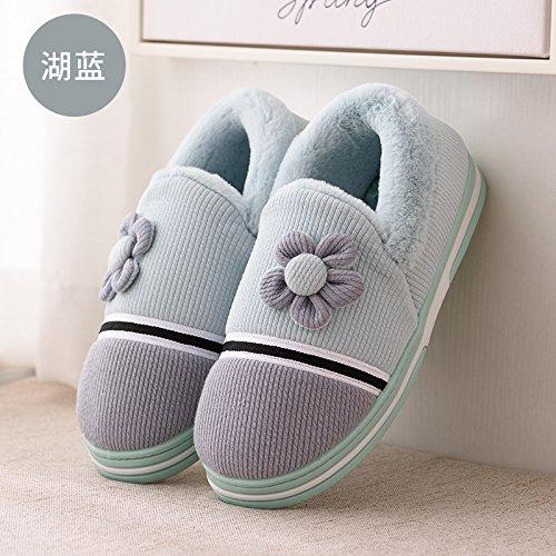 Inverno fankou pantofole di cotone femmina spessa carino home a casa con un maschio di camera non-slip caldo paio di pantofole, 39-40 per 38-39, blu