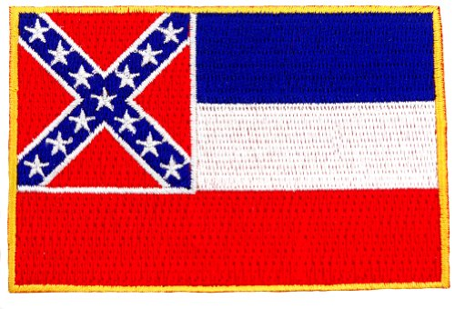 Mississippi State Flag Embroidered Patch Iron-On MS Emblem Confederate Flag Accessories