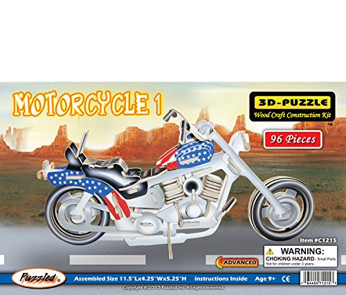 Puzzled Colorful Wood Craft Construction Motorcycle 3D Jigsaw Puzzle