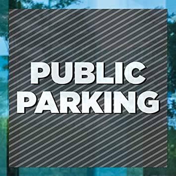 5-Pack Stripes Gray Window Cling Public Parking CGSignLab 24x24