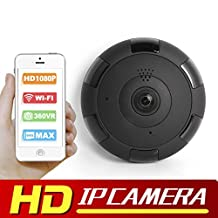 eoqo 1080P WiFi IP Security Camera Wide Angle 180°-360°Mini Portable Indoor Hidden Camera with IR Night Vision /2-way Audio/ Motion Detection Loop Recording (Black)