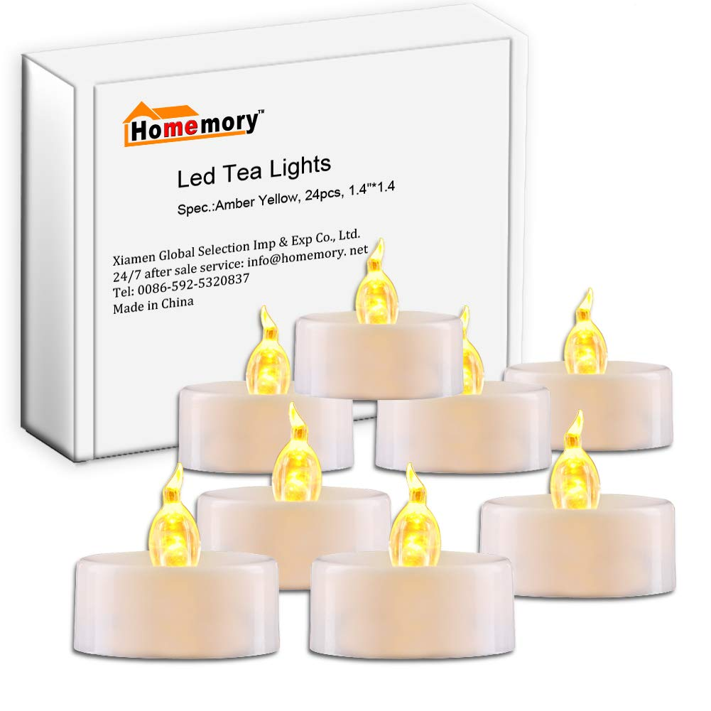 Homemory 24pcs Battery Operated Flameless LED Tea Light, Electric Tealight Candles,Votive Led Candles in Amber Yellow Xiamen Global Selection HMCLTLHG24